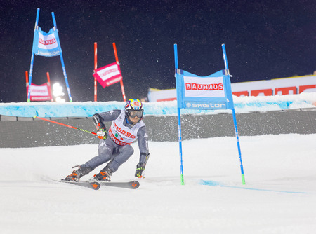 STOCKHOLM, SWEDEN - JAN 31, 2017: Stefano Gross (ITA)  in the downhill skiing in the parallel slalom alpine event, Audi FIS Ski World Cup. January 31, 2017, Stockholm, Sweden