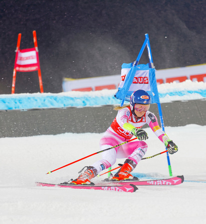 parallel world: STOCKHOLM, SWEDEN - JAN 31, 2017: Mikaela Shiffrin (USA) fighting in the downhill skiing parallel slalom makes a turn at the Alpine Audi FIS Ski World Cup - city event January 31, 2017, Stockholm, Sweden Editorial