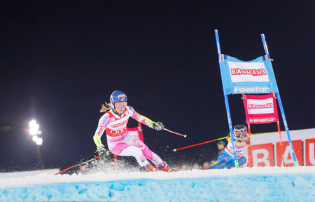 STOCKHOLM, SWEDEN - JAN 31, 2017: Mikaela Shiffrin (USA) fighting againt Frida Hansdotter (SWE) in the downhill skiing parallel slalom at the Alpine Audi FIS Ski World Cup - city event January 31, 2017, Stockholm, Sweden