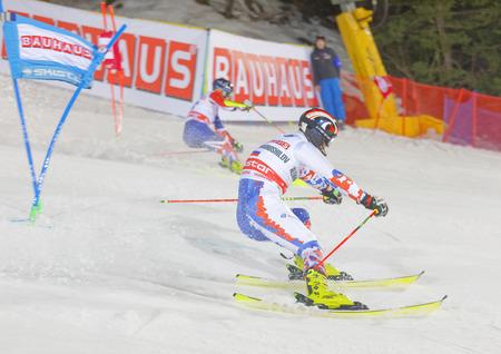 aleksander: STOCKHOLM, SWEDEN - JAN 31, 2017: Aleksander Khorosholv (RUS) and competitor in the parallel slalom alpine ski event, Audi FIS Ski World Cup. January 31, 2017, Stockholm, Sweden