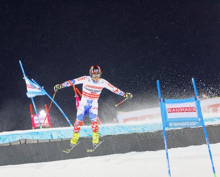 STOCKHOLM, SWEDEN - JAN 31, 2017: Aleksander Khorosholv (RUS) jumping in the parallel slalom alpine ski event, Audi FIS Ski World Cup. January 31, 2017, Stockholm, Sweden Editorial