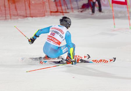 aleksander: STOCKHOLM, SWEDEN - JAN 31, 2017: Side view of Aleksander Aamodt Kilde (NOR) in the parallel slalom downhill alpine skiing event Audi FIS Ski World Cup. January 31, 2017, Stockholm, Sweden Editorial