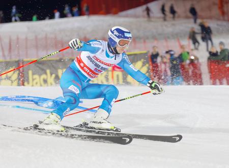 sweden winter: STOCKHOLM, SWEDEN - JAN 31, 2017: Jonathan Nordbotten (NOR) fighting in the parallel slalom alpine ski event, Audi FIS Ski World Cup. January 31, 2017, Stockholm, Sweden