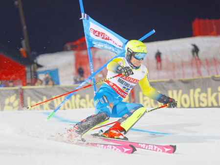parallel world: STOCKHOLM, SWEDEN - JAN 31, 2017: Mattias Hargin (SWE) downhill skiing in the parallel slalom alpine event, Audi FIS Ski World Cup. January 31, 2017, Stockholm, Sweden Editorial