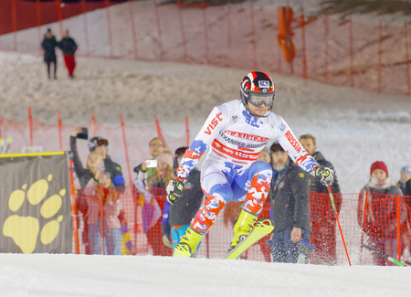 aleksander: STOCKHOLM, SWEDEN - JAN 31, 2017: Aleksander Khorosholv (RUS) jumping in the parallel slalom alpine ski event, Audi FIS Ski World Cup. January 31, 2017, Stockholm, Sweden Editorial
