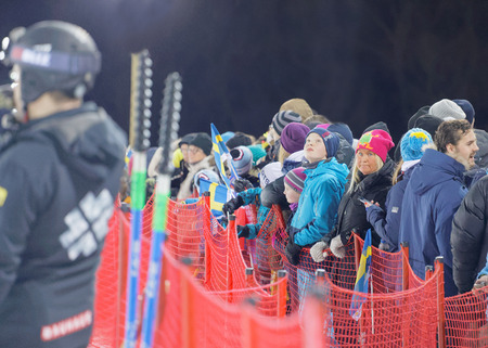 STOCKHOLM, SWEDEN - JAN 31, 2017: Audience waiting for the parallel slalom event, at the Alpine Audi FIS Ski World Cup - city event January 31, 2017, Stockholm, Sweden