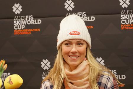STOCKHOLM, SWEDEN - JAN 30, 2017: Smiling Mikaela Shiffrin interviewed at a press conference before the parallel slalom, Audi FIS Ski World Cup. January 30, 2017, Stockholm, Sweden Redakční