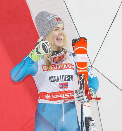 aon: STOCKHOLM, SWEDEN - JAN 31, 2017: Happy Nina Loeseth (NOR) aon the podium at the FIS Alpine Ski World Cup - city event January 31, 2017, Stockholm, Sweden