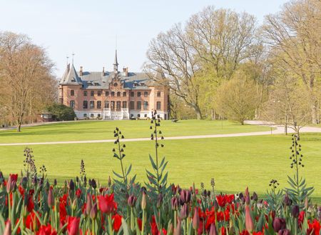 HELSINGBORG, SWEDEN - MAY 07, 2016: The castle Sofiero and the park owned by the swedish royal family. May 07, 2016, Helsingborg, Sweden Editorial