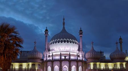 BRIGHTON, GREAT BRITAIN - FEB 26, 2017: Night scene of the illuminated royal pavilion in Brighton. February 26, 2017 in Brighton, Great Britain