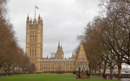 LONDON, GREAT BRITAIN - FEB 27, 2017: Palace of Westminster from the side where Big Ben is not visible. February 27, 2017 in London, Great Britain Editorial