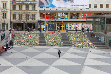 hijack: STOCKHOLM, SWEDEN - APR 12, 2017: Lots of flowers in central Stockholm from people paying respect to the victims in the terror attack in Stockholm April 07, 2017. April 13, 2017 in Stockholm, Sweden