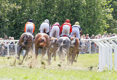 rival: STOCKHOLM, SWEDEN - JUNE 06, 2017: Rear view of jockeys riding race horses in a curve at Nationaldags Galoppen at Gardet. June 6, 2017 in Stockholm, Sweden