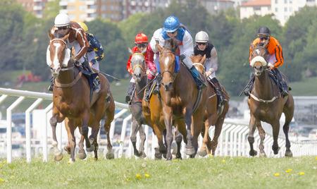 racetrack: STOCKHOLM, SWEDEN - JUNE 06: Tough race between the race horses and colorful jockeys at Nationaldags Galoppen at Gardet. June 6, 2017 in Stockholm, Sweden Editorial