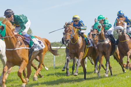 rival: STOCKHOLM, SWEDEN - JUNE 06, 2017: Tough fight between jockeys riding gallop arabian race horses at Nationaldags Galoppen at Gardet. June 6, 2017 in Stockholm, Sweden