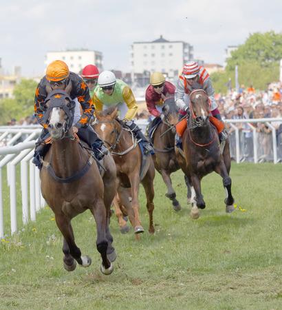 STOCKHOLM, SWEDEN - JUNE 06, 2017: Tough fight between many jockeys riding arabian race horses at Nationaldags Galoppen at Gardet. June 6, 2017 in Stockholm, Sweden