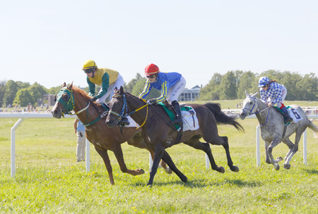 rivals rival rivalry season: STOCKHOLM, SWEDEN - JUNE 06, 2017: Tough fight between three jockeys riding gallop arabian race horses at Nationaldags Galoppen at Gardet. June 6, 2017 in Stockholm, Sweden Editorial