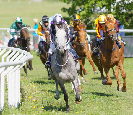 STOCKHOLM, SWEDEN - JUNE 06, 2017: Coloful jockeys on gallop arabian race horses storming ahead in a curve at Nationaldags Galoppen at Gardet. June 6, 2017 in Stockholm, Sweden