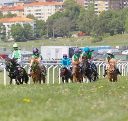 ESTOCOLMO, SUECIA - el 6 de junio de 2017: Muchas muchachas jóvenes del jinete que montan ponys lindos en Nationaldags Galoppen en Gardet. 6 de junio de 2017 en Estocolmo, Suecia Foto de archivo - 80008000