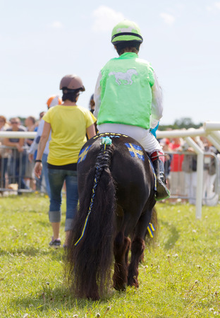 rival: STOCKHOLM, SWEDEN - JUNE 06, 2017: Rear view of young jockeys walking with pony gallop race horses at Nationaldags Galoppen at Gardet. June 6, 2017 in Stockholm, Sweden