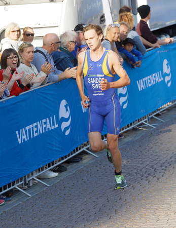 elite: STOCKHOLM - AUG 26, 2017: Running triathlete Gabriel Sandor (SWE) at the finish, audience clapping hands in the Mens ITU World Triathlon series event August 26, 2017 in Stockholm, Sweden