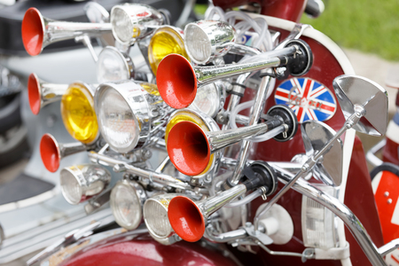 STOCKHOLM, SWEDEN - SEPT 02, 2017: Lots of lamps and horns on a modified old fashioned classic vespa scooter  at the Mods vs Rockers event at the Saint Eriks bridge, Stockholm, Sweden, September 02, 2017 Editorial