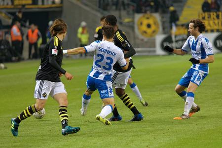 SOLNA SWEDEN - OCT 30, 2017: Soccer fotball fighting hard to get the ball. October 30 2017,Solna,Sweden Editorial