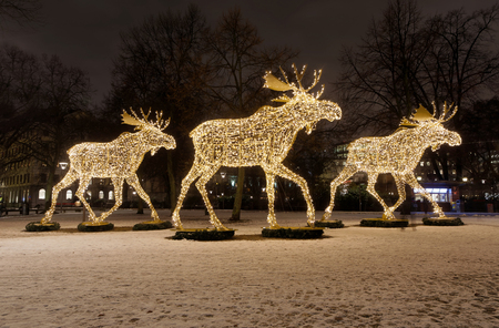 gigantic elk or moose christmas decoration made of led light at nybrokajen stockholm sweden