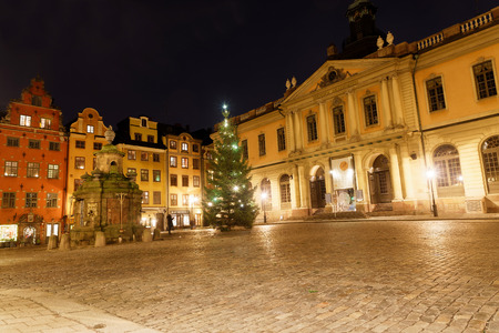 The medieval square Stortorget and the Nobel Museum in the Old Town during night in central Stockholm