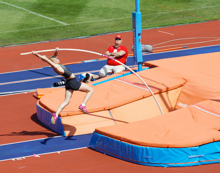 STOCKHOLM, SWEDEN - JUN 10, 2018: Sandi Morris  jumping in the Pole Vault competition in IAAF Diamond League, June 10, 2018 in Stockholm, Sweden