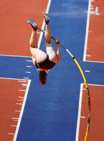 STOCKHOLM, SWEDEN - JUN 10, 2018: Nikoleta Riakopoulou (Greece) jumping in the Pole Vault competition in IAAF Diamond League Bauhaus galan, June 10, 2018 in Stockholm, Sweden