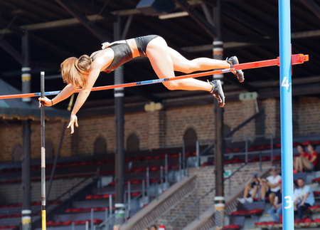 STOCKHOLM, SWEDEN - JUN 10, 2018: Maryna Kylypko (Ukraine) jumping in the Pole Vault competition in IAAF Diamond League Bauhaus galan, June 10, 2018 in Stockholm, Sweden