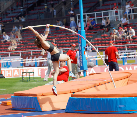STOCKHOLM, SWEDEN - JUN 10, 2018: Nikoleta Riakopoulou (Greece) jumping in the Pole Vault competition in IAAF Diamond League Bauhaus galan, June 10, 2018 in Stockholm, Sweden