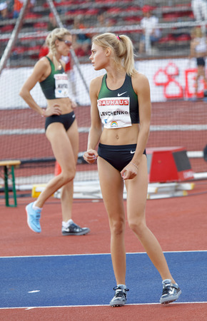 STOCKHOLM, SWEDEN - JUN 10, 2018: Yuliya Levchenko (UKR)  concentrating in the High jump competition in IAAF Diamond League Bauhaus galan, June 10, 2018 in Stockholm, Sweden
