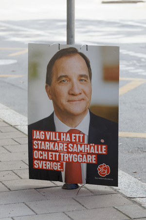 STOCKHOLM, SWEDEN - AUG 26, 2018: Election poster showing the swedish Prime Minister Stefan Loven, trying to get votes during the election campaign, August 26, 2018 in central Stockholm, Sweden