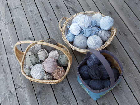 Three baskets full of balls of matte crumble in many colors Reklamní fotografie