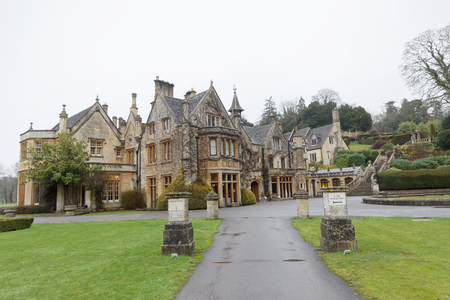COTSWALD, GREAT BRITAIN - DEC 23, 2018: Manor House Hotel in Castle Combe in Cotswald, the prettiest village in UK. December 23, 2018 in Cotswold Great Britain