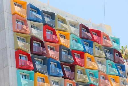 VALLETTA, MALTA - JUN 18, 2018: Spectacular, modern colorful building with balconys in different shapes and colors in a suburb to Valletta in Malta.Valletta, Malta. June 18, 2018
