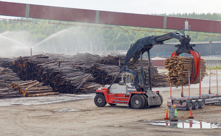 Large machine loading timber at the pulp and paper mill