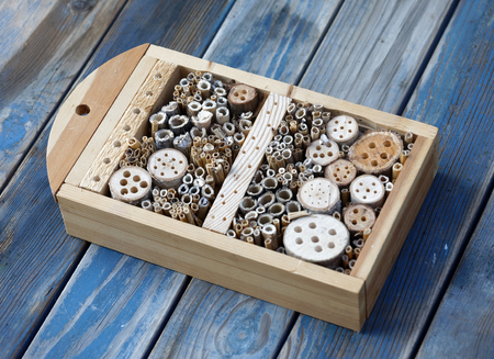 Insect hotel made of reed and drilled holes in wood of different diameter to suit all kind of insects Stock fotó
