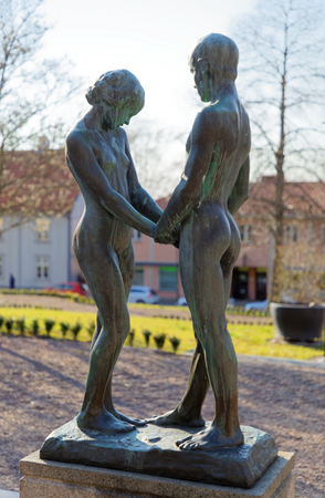 GRANNA, SWEDEN - APR 12, 2019: Statue called Youth made by the artist Carl Eldh in the small town Granna n sweden. April 12, 2019, Granna Sweden 報道画像