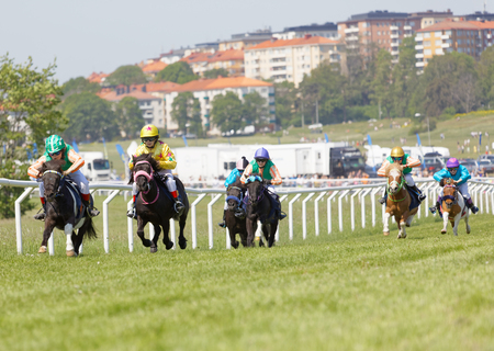 STOCKHOLM, SWEDEN - JUNE 06, 2019: Many young jockey girls riding ponys in a gallop race at Nationaldags Galoppen at Gardet. June 6, 2019 in Stockholm, Sweden Foto de archivo - 127079486