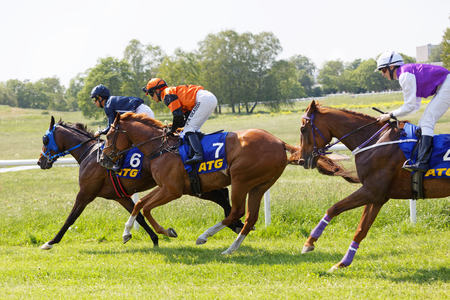 STOCKHOLM, SWEDEN - JUNE 06, 2019: Side view of colorful jockeys riding arabian race horses, audience in the background at ATG Nationaldags Galoppen at Gardet. June 6, 2019 in Stockholm, Sweden 報道画像