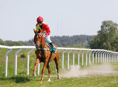 STOCKHOLM, SWEDEN - JUNE 06, 2019: Female jockey riding a arabian gallop race horse at the race track at ATG Nationaldags Galoppen at Gardet. June 6, 2019 in Stockholm, Sweden 報道画像