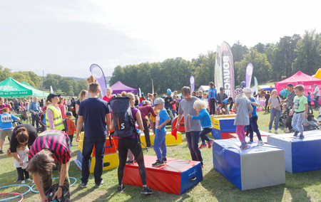 STOCKHOLM - SEPT 08, 2019: Lots of activities for kids at Generation PEP day in Hagaparken to encourage to physical activity, initiated by prins Daniel Westling. Stockholm,Sweden,September 08, 2019 Editorial