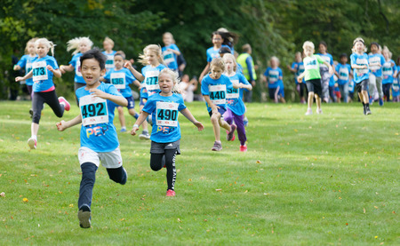 STOCKHOLM - SEPT 08, 2019: Princess Estelle and other kids running during the Generation PEP day in Hagaparken, to make kids be more physical active and more healthy, initiated by the swedish prins Daniel and princess Victoria. Stockholm,Sweden,September  Editorial