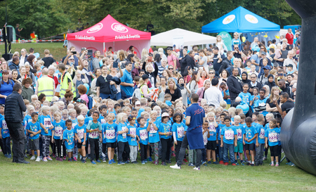 STOCKHOLM - SEPT 08, 2019: Many kids waiting for the start in the running competition Prins Daniels lopp during the Generation PEP day in Hagaparken. Stockholm,Sweden,September 08, 2019