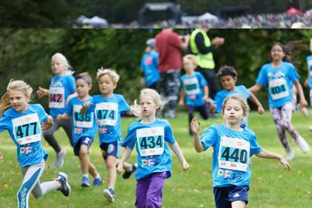 STOCKHOLM - SEPT 08, 2019: Many kids running during the Generation PEP day in Hagaparken to encourage kids to physical activity, initiated by prins Daniel. Stockholm,Sweden,September 08, 2019 Editorial