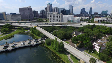 Aerial of downtown Orlando, Florida
