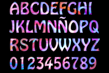 orthographic symbol: Letters and numbers multicolored isolated on black. Stock Photo